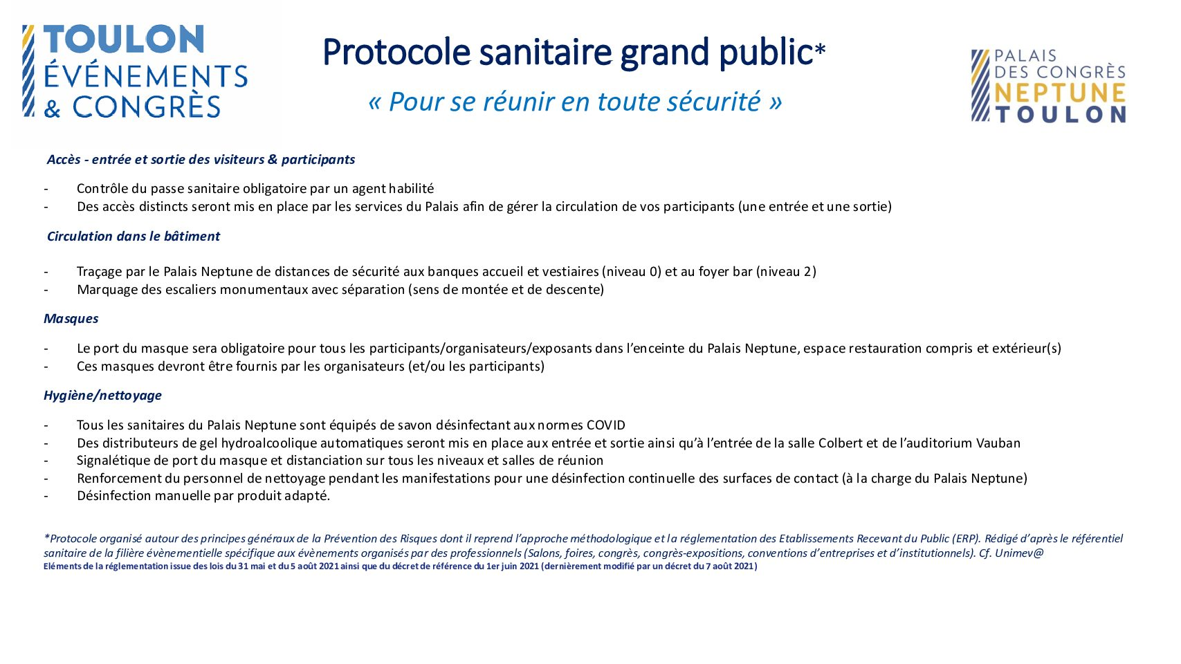 Notre protocole sanitaire à votre disposition